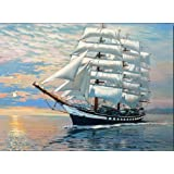 MailingArt Wooden Framed Paint By Number Ships No Blending / No Mixing Linen Canvas DIY Painting - Victory Returning