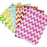 150 Stk. / 6 Farben / ca. 16,5 x 13 cm Papiertüten Geschenktüten Papier für Ostern Hochzeit Tüten Süßigkeiten Papiertaschen Geschenk Beutel papierbeutel (ca. 16,5 x 13 cm + Klappe 1,7 cm, 6 Farben (Wellen))