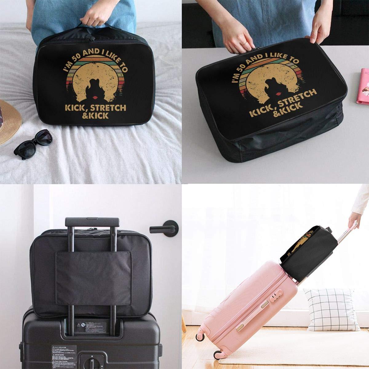 Fretlo Im 50 Kick Stretch And Kick Travel Duffel Bag Waterproof Lightweight Large Capacity Portable Luggage Bag Black