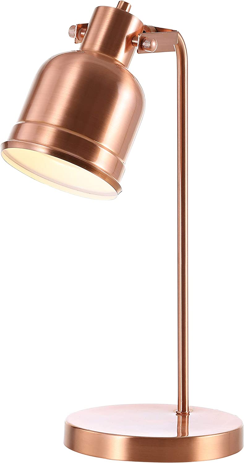 "JONATHAN Y JYL6112A Edgar 18"" Metal LED Task Lamp Contemporary for Bedroom, Living Room, Office, College Dorm, Coffee Table, Bookcase, Copper"