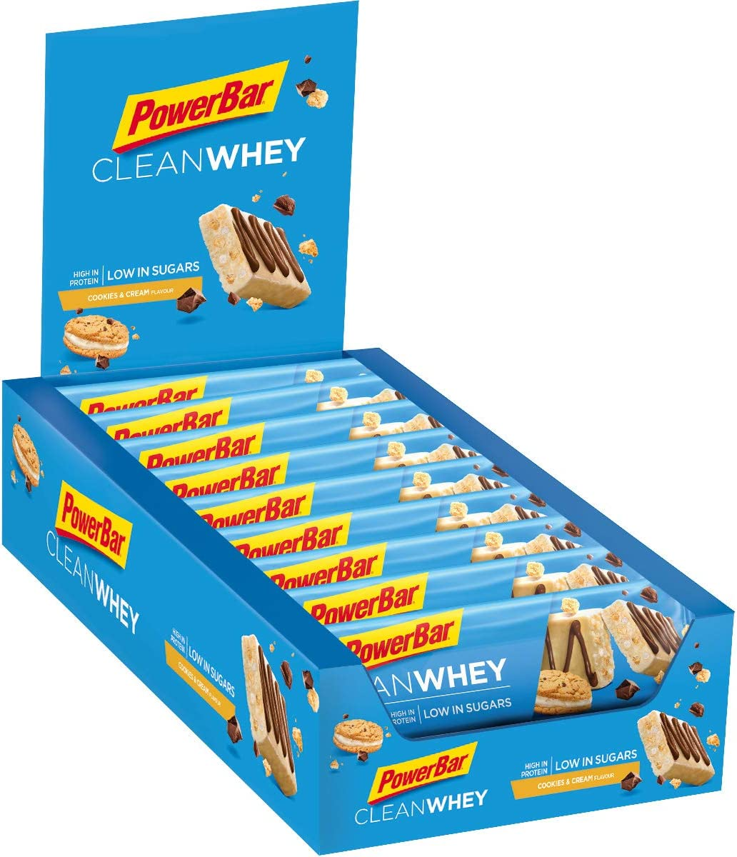 PowerBar Clean Whey Cookies&Cream 18x45g - Barras de Proteína con Bajo Contenido de Azúcar