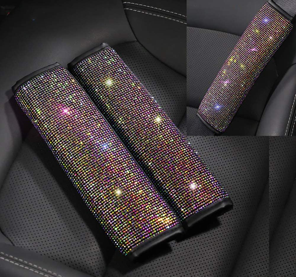 Colorful Diamond Soft Cute Girl Decoration/ Accessories 2 Packs Sparkly Seatbelt Covers for Adults Women,Bling Rhinestone Car Seat Belt Shoulder Pads