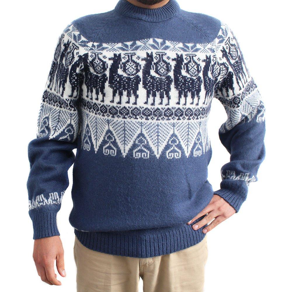 CELITAS DESIGN Sweater Crew Neck Llamas INCA Made in Peru Large Steel
