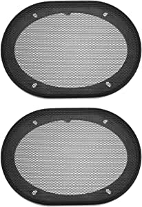 uxcell Speaker Grill Cover 5x7 Inch Mesh Decorative Square Subwoofer Guard Protector Black 2pcs
