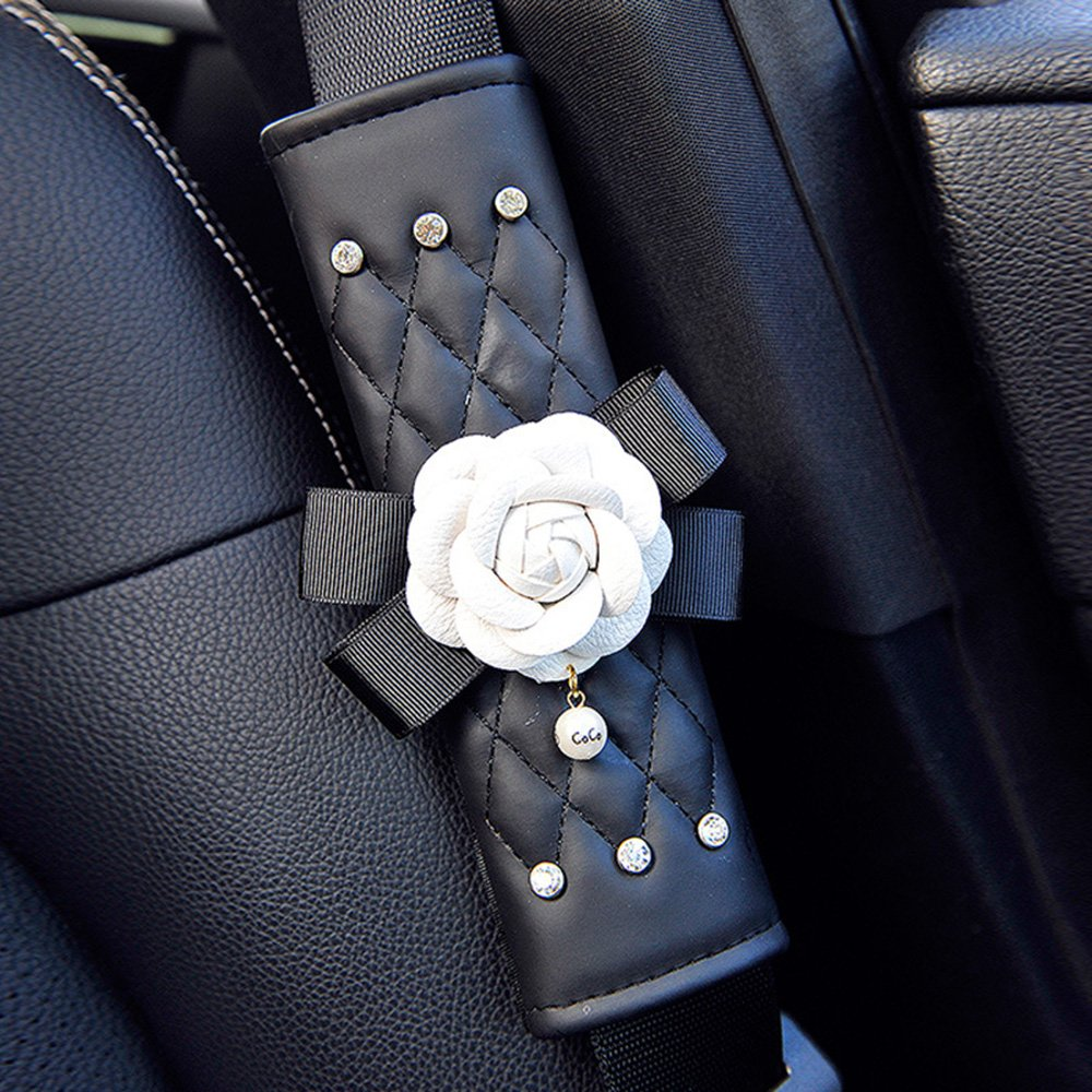 INEBIZ Beautiful Camellia Leather Car Seat Belt Cover Pads, Harness Repositions Strap Adjuster, 1 Pair for Children or Adult