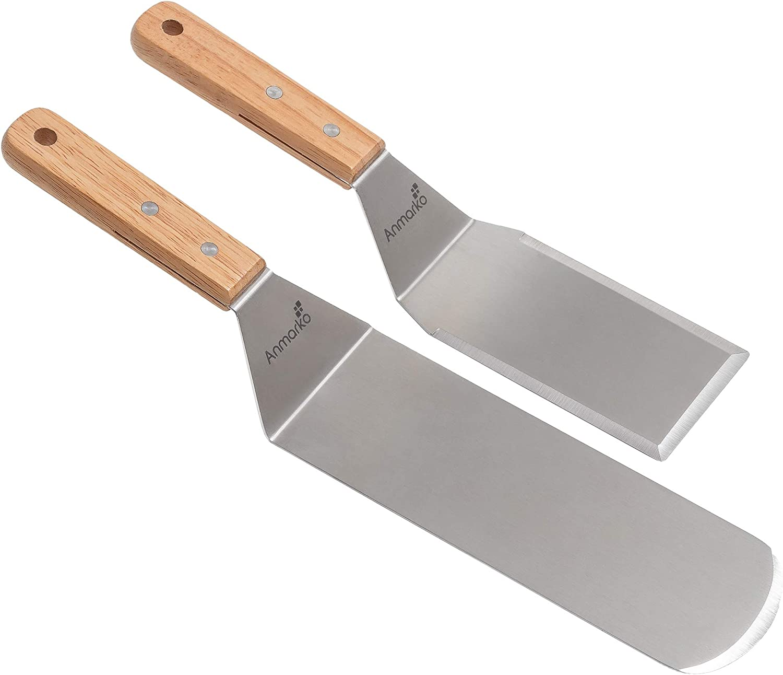 Juego de espátula de metal - Espátula de parrilla Teppanyaki - Raspador de parrilla - utensilio de acero inoxidable ideal para barbacoa parrilla plana - Calidad comercial