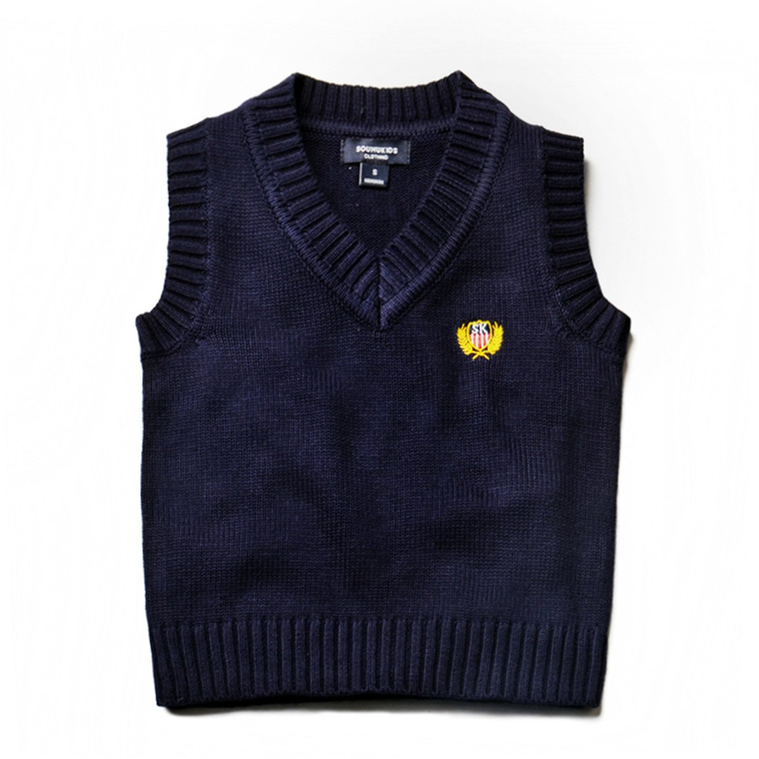Kids Boys Knit Sweater Vest V-Neck Students Sweater Dark Blue 2T-7T SOUHUKIDS