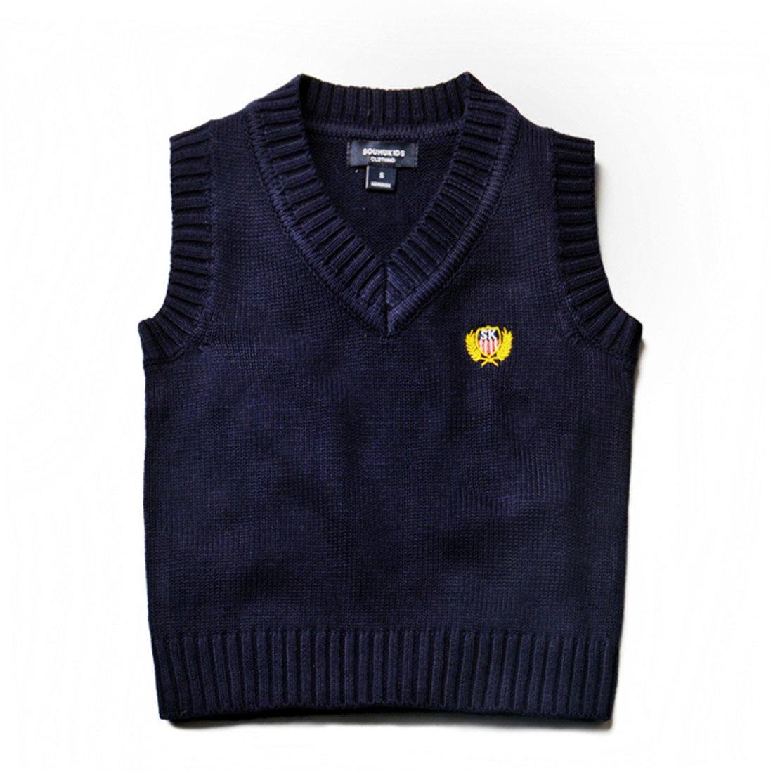 Kids Boys Knit Sweater Vest V-Neck Students Sweater Dark Blue 2T-7T SOUHUKIDS