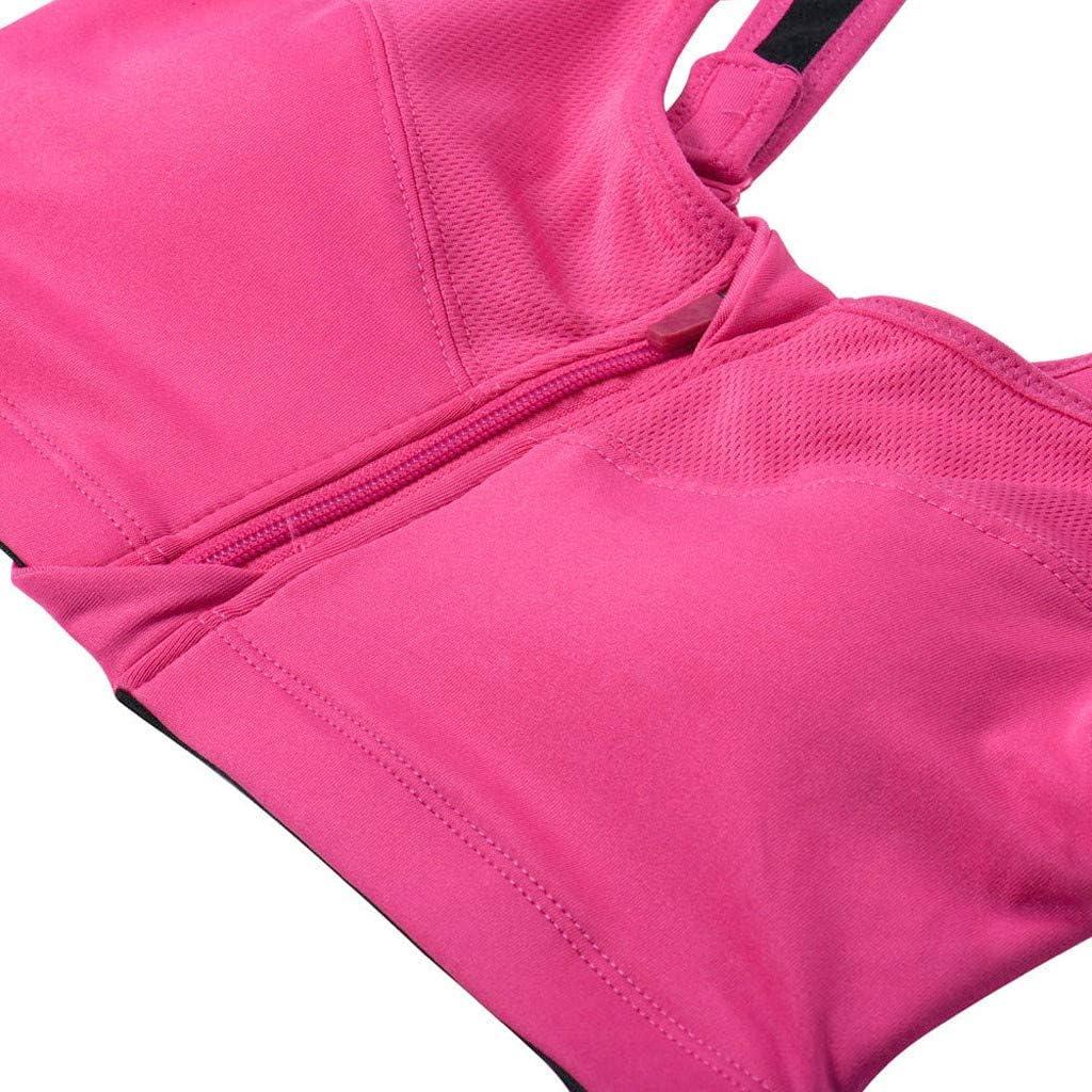 TLOOWY Sports Bras for Women Zip Front Bras Medium Support Activewear Gym Workout Yoga Bra Wireless Seamless Padded Racerback