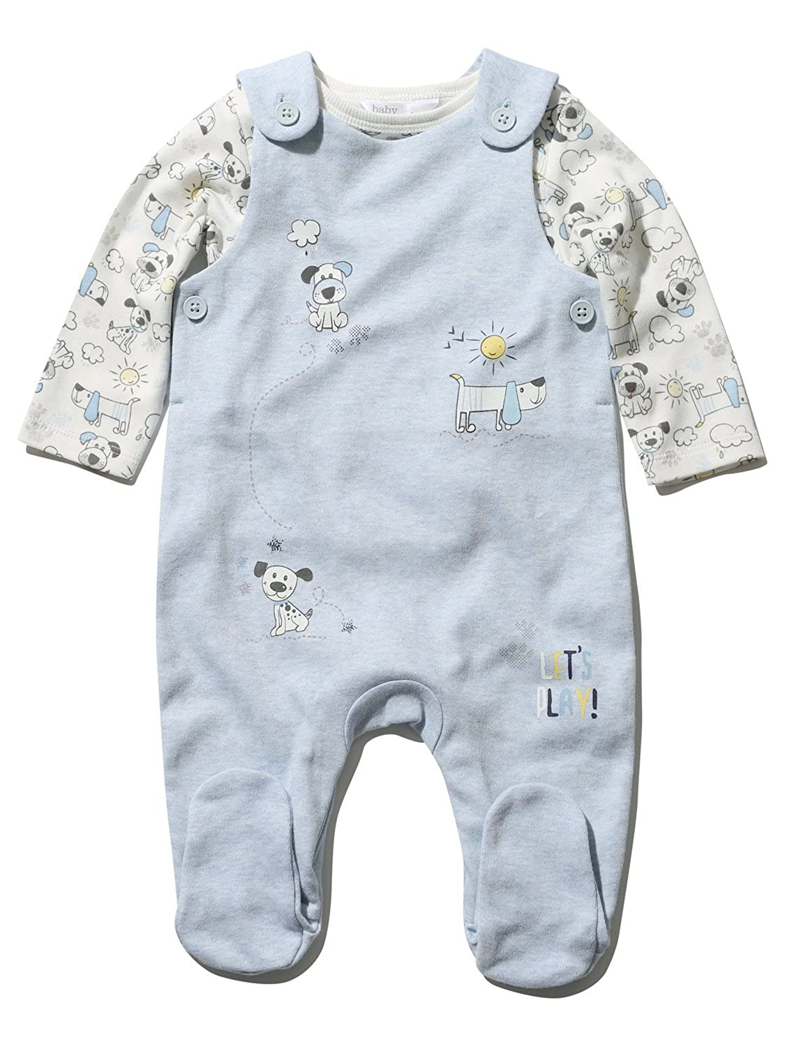 M&Co Newborn Boy Cotton Blue Enclosed Feet Dungarees Long Sleeve Top Dog Print Set