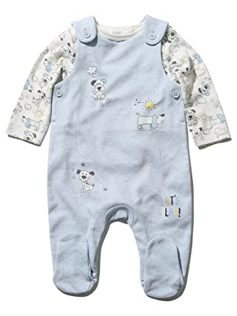 b4418b597 M Co Newborn Boy Cotton Blue Enclosed Feet Dungarees and Long Sleeve ...