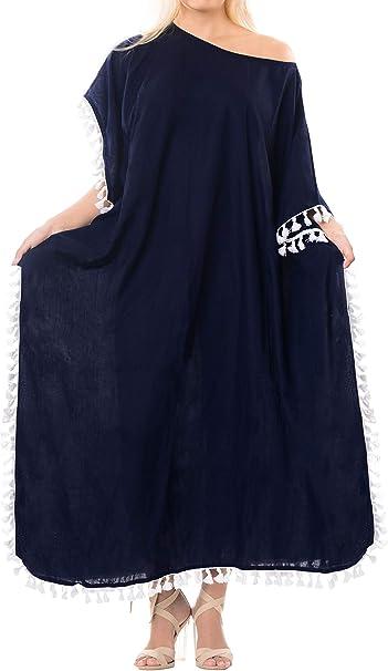 TALLA 42-46. LA LEELA Mujeres caftán Rayón túnica Sólido Plain Kimono Libre tamaño Largo Maxi Vestido de Fiesta para Loungewear Vacaciones Ropa de Dormir Playa Todos los días Cubrir Vestidos U
