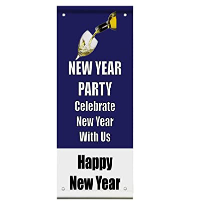 new year party celebrate happy new year double sided vertical pole banner sign 36 in x