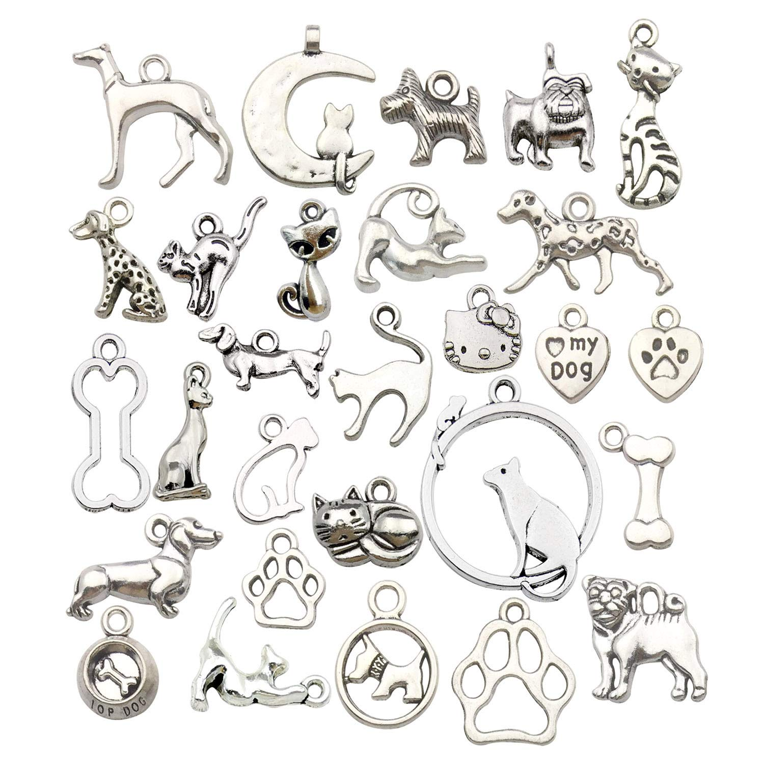 Youdiyla 70 pcs Lucky Charms Cute Puppy Pet Dog Animal Charm Bead for Jewelry Making Craft Supplies for DIY Necklace Bracelet Accessory WM152