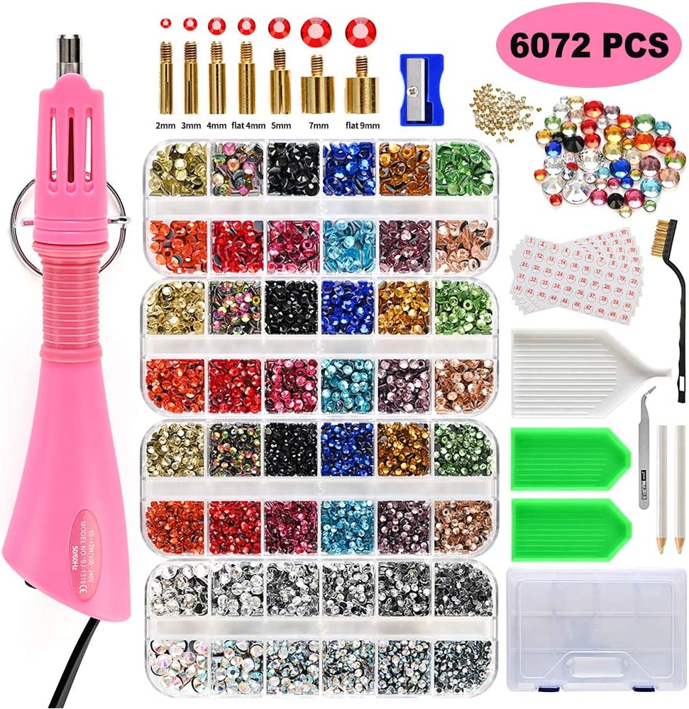 Clear/&Colorful Stones with 7 Different Sizes Tips Hotfix Applicator Carry Box,Manual,Tool Kit West Bay Hot Fix Rhinestone Applicator Wand Setter Tool Kit 6072pcs Crystal AB Upgraded Bedazzle Kit