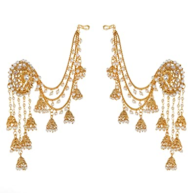 buy prita 18k gold plated white polki pearl jhumka earrings for