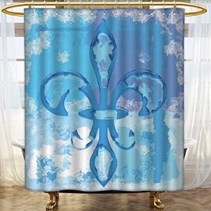 Anhounine Fleur De Lis Shower Curtains Fabric Extra Long Illustration Of Lily Flower Like Frozen Heredic