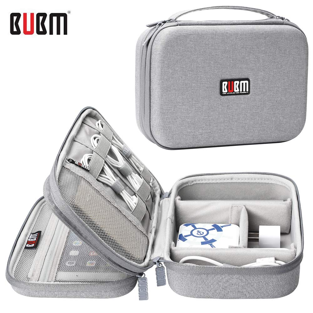 BUBM Hard Shell Electronic Organizer,Double Layer Travel Gadget Storage Bag for Cables, Cord, USB Flash Drive, Power Bank and More-a Sleeve Pouch for 7.9'' iPad Mini by BUBM