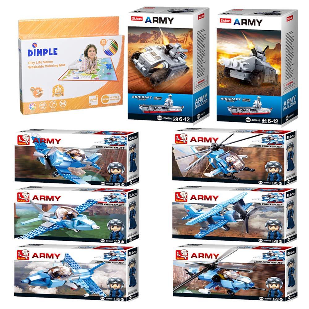 Mega Army Aircraft Carrier Imaginative Indoor Games Toys for Kids Tank 1 Mega Fighter Set and More SlubanKids Creative Building Blocks Set