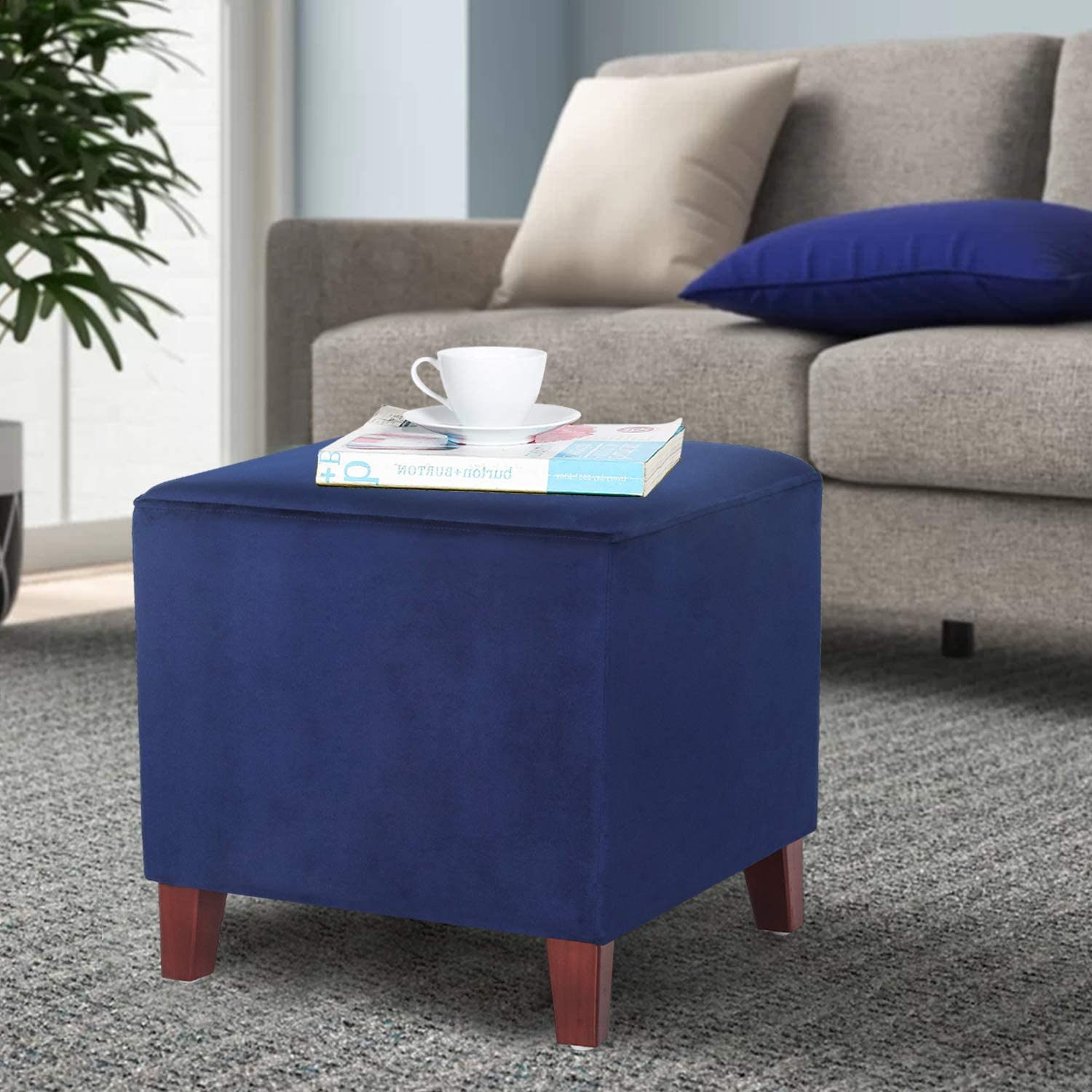 Homebeez Square Ottoman Footrest Stool, Small Fabric Bench Shoe Dressing Seat, Accent Furniture for Living Room (Dark Blue)