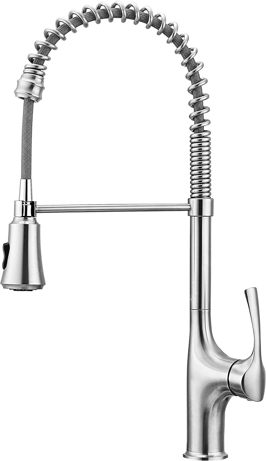 Primy Commercial Kitchen Faucets With Pull Down Sprayer Modern Heavy Duty Lead-Free Single Handle High-Arc Kitchen Sink Faucet With Deck Plate, Solid 304 Stainless Steel