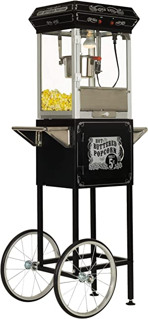 Funtime Sideshow Popper 4-Ounce Hot Oil Popcorn Machine with Cart, Black/Silver