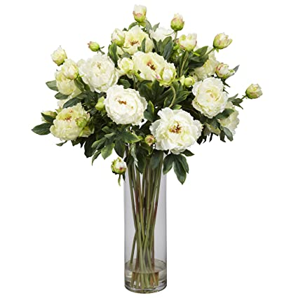Amazon nearly natural 1231 wh giant peony silk flower nearly natural 1231 wh giant peony silk flower arrangement white mightylinksfo