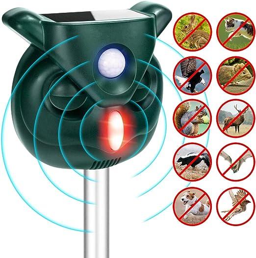 Fox Repellent Ultrasonic Animal Repeller Solar Battery Operated Ourdoor Waterpro