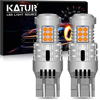 KATUR 7443 T20 992 W21/5W LED Bulbs Super Bright 12pcs 3030 & 8pcs 3020 Chips Canbus Error Free Replace for Turn Signal Reverse Brake Tail Stop Parking RV Lights,Amber Yellow(Pack of 2): Automotive
