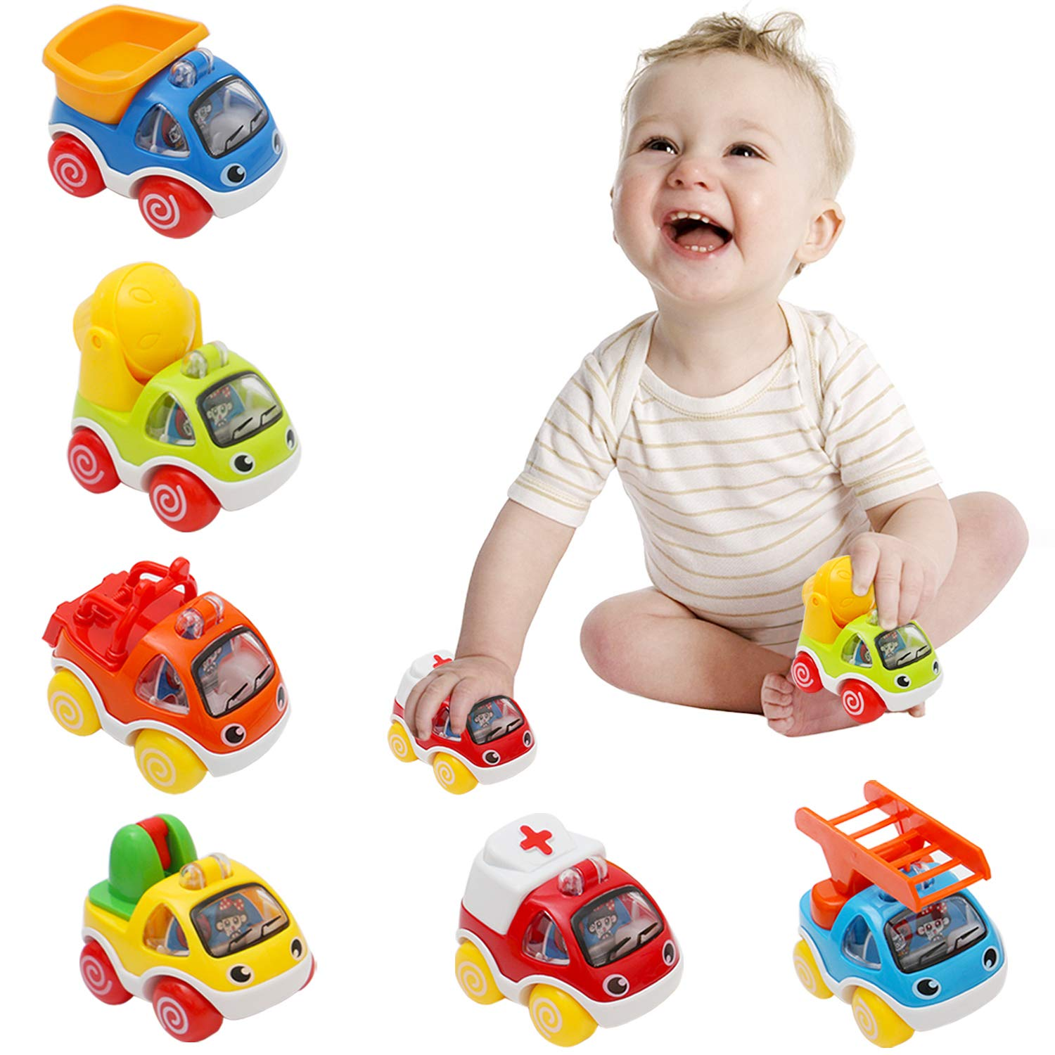 BeOne Toy Cars for Kids, Pull Back Cars Push and GO Cars Toys for Toddlers 1 Year and Up Baby Construction Team Vehicles Set Toy Helicopter for Toddlers Birthday (6pcs Construction Cars)