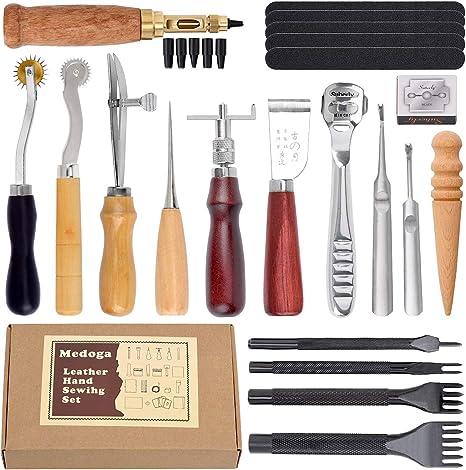 Vifer Universal Leather Craft Embossing Punch Set Kit DIY Herramientas de perforaci/ón de cuero 18pcs Herramientas Para Cuero Kit