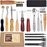 Leather Sewing Tools 18 pcs Leather Carft Tools Kit Including Awl Punch Groover Skiving Tool and Prong Punch,Home…