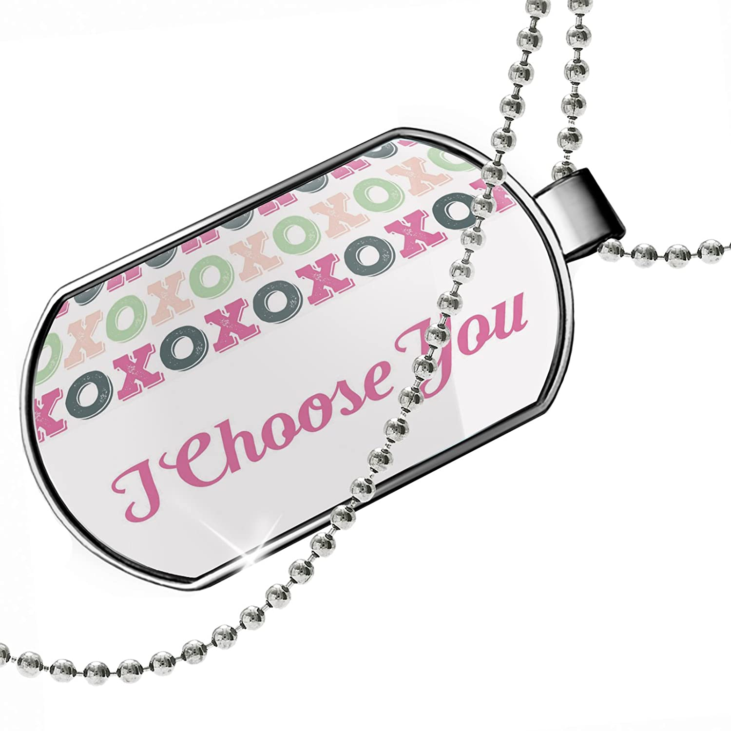 NEONBLOND Personalized Name Engraved I Choose You Valentines Day XOXOs Dogtag Necklace