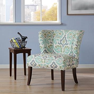 Hilton Armless Accent Chair Blue Green