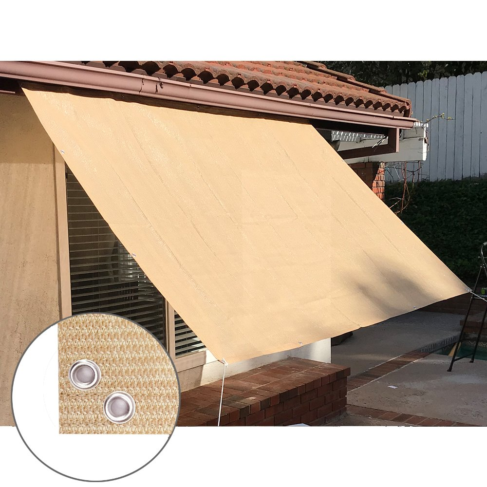 Alion Home Sun Shade Panel Privacy Screen with Grommets on 4 Sides for Outdoor, Patio, Awning, Window Cover, Pergola or Gazebo -200 GSM (12' x 6', Banha Beige)