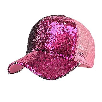 Malloom Mujer Cola de Caballo Gorras Lentejuelas Brillante Bun reticular Snapback Sombreros Sol Gorras (Rosa