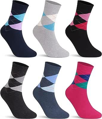 L&K Pack de 6 Calcetines Socks para mujer algodón unisex invierno 92263