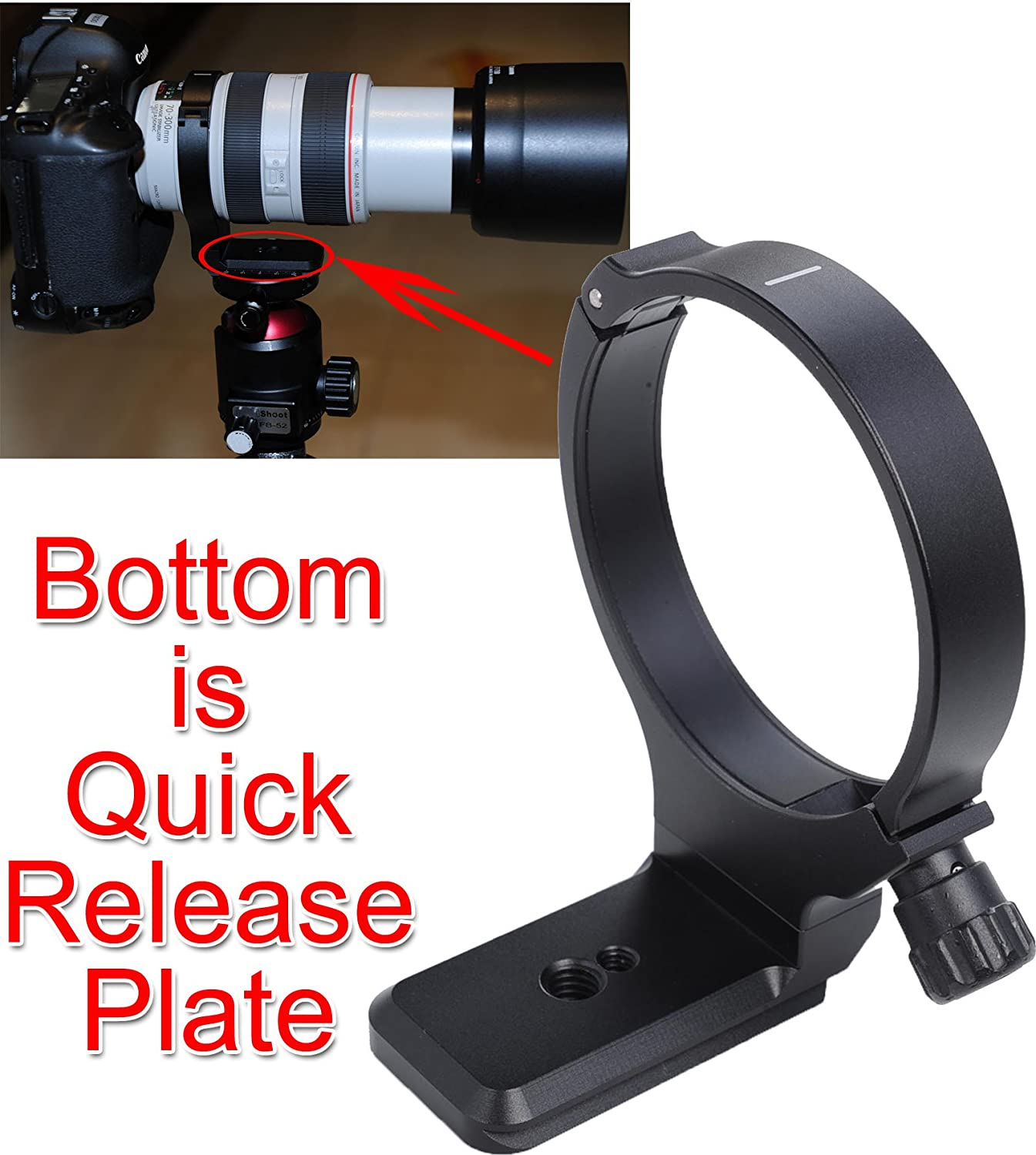 Bottom is Camera Quick Release Plate Canon EF 70-300mm f//4-5.6L IS USM iShoot Latest Metal Lens Support Collar Tripod Mount Ring for Canon EF 28-300mm f//3.5-5.6L IS USM