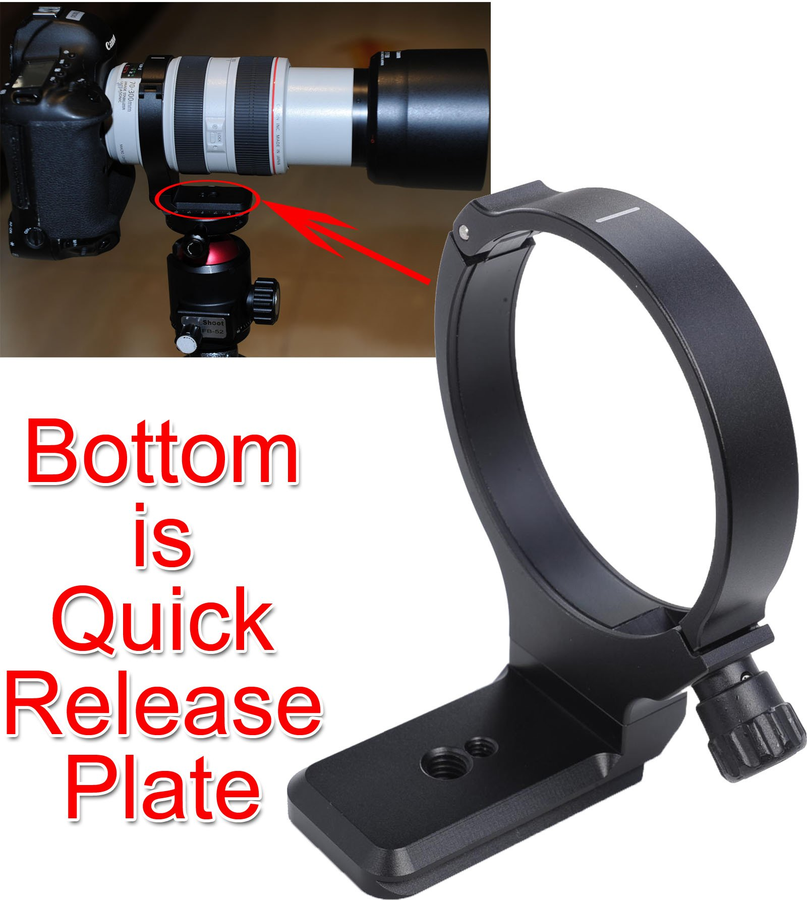 CNC Precisely Machined Metal Lens Support Collar Tripod Mount Ring for Canon EF 28-300mm f/3.5-5.6L IS USM, Canon EF 70-300mm f/4-5.6L IS USM -Bottom is Camera Quick Release Plate