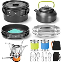 Odoland 16pcs Camping Cookware Set with Folding Camping Stove, Non-Stick Lightweight Pot Pan Kettle Set with Stainless…