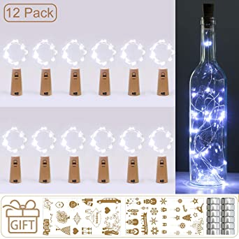 luz de Botella, Kolpop luz Corcho, luces led para Botellas de Vino 2m 20 LED a Pilas Decorativas Cobre Luz para Romántico Boda, Navidad, Fiesta, ...