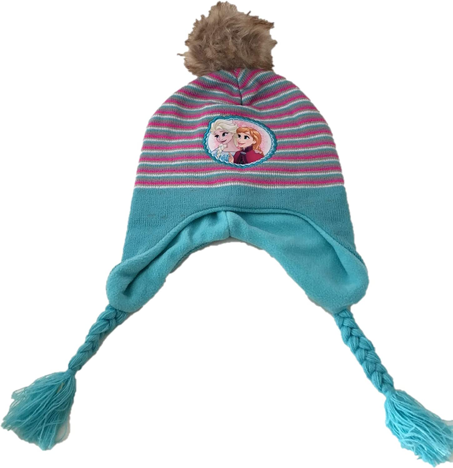Disney Wiesner Products Frozen Peruvian Winter Hat with Faux Fur Pom Pom Blue Pink