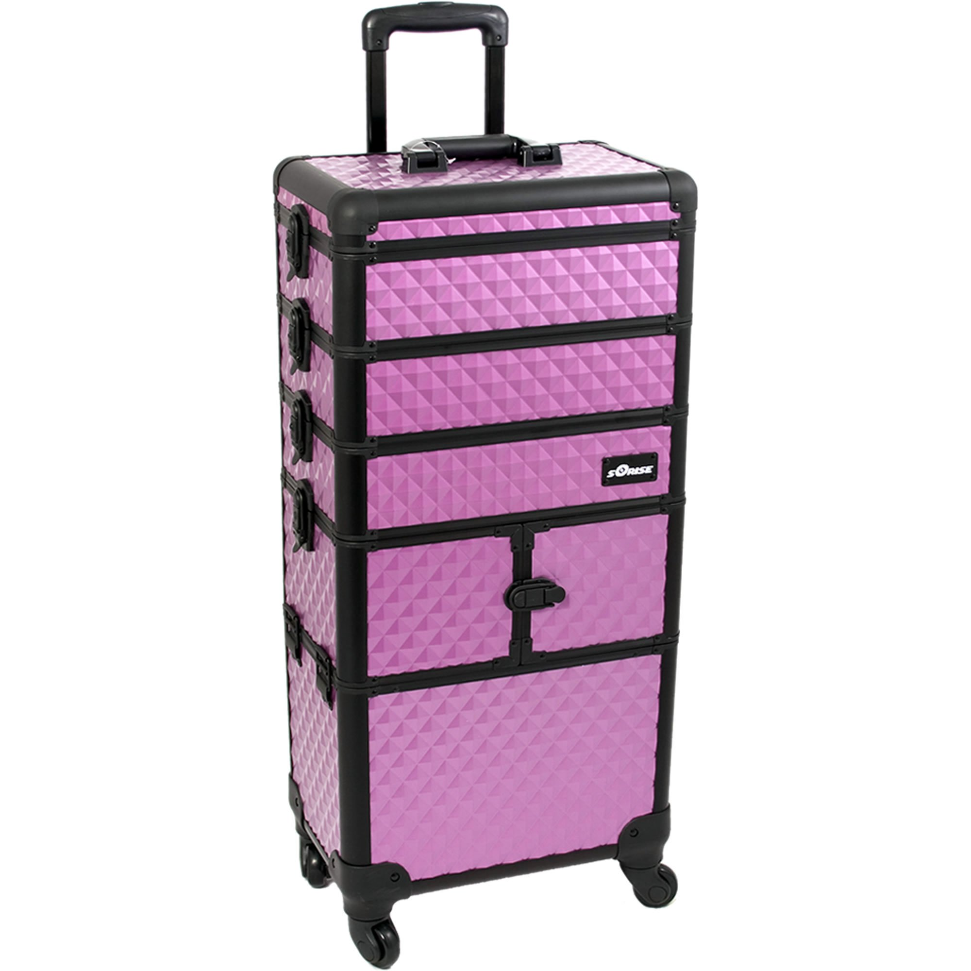 SUNRISE Makeup Rolling Case 4 in 1 Professional Organizer I3364 Aluminum, 3 Stackable Trays and Two 3 Tier Trays, 4 Wheel Spinner, Purple Diamond by SunRise