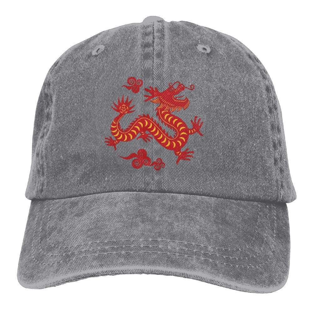 XZFQW Dragon Chinese Trend Printing Cowboy Hat Fashion Baseball Cap For Men and Women Ash