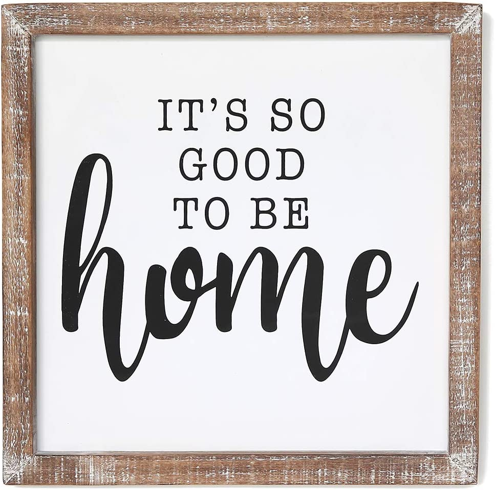 SANY DAYO HOME It's So Good to Be Home 12 x 12 inches Rustic Wood Framed Wall Hanging Signs for Home, Kitchen, Bathroom Farmhouse Decor