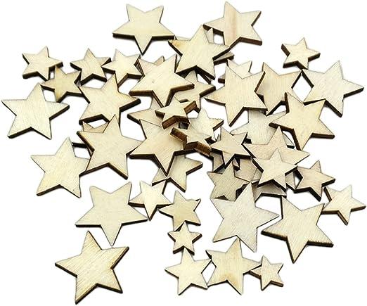 100pcs Varios Adornos De Madera Forma Estrellas De Diferente Tamaño Para Artes