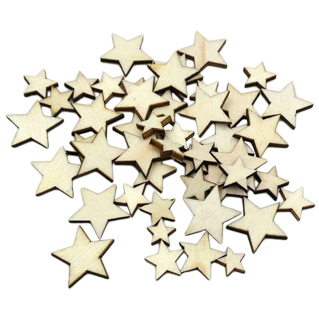 50Pcs Romantic Style Wood Star Chipboard Wooden Home Decorations DIY Christmas Party Scrapbooking Luwu-Store