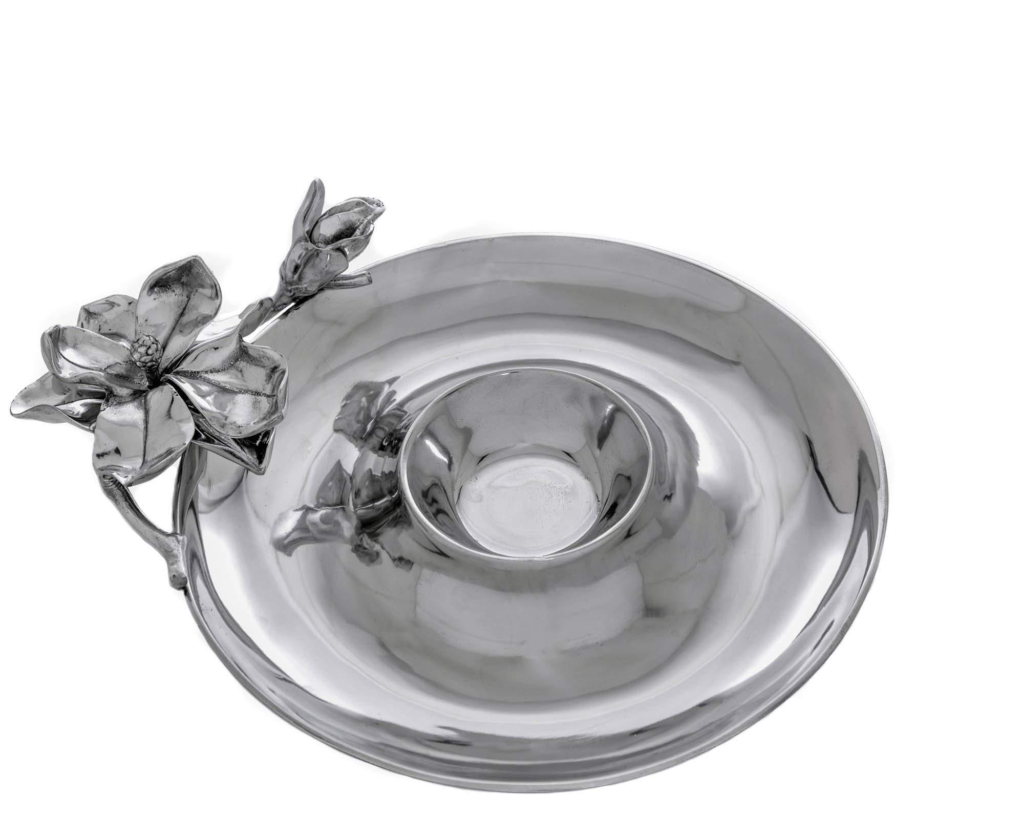 Arthur Court Designs Aluminum 14'' Magnolia Flower Chip and Dip
