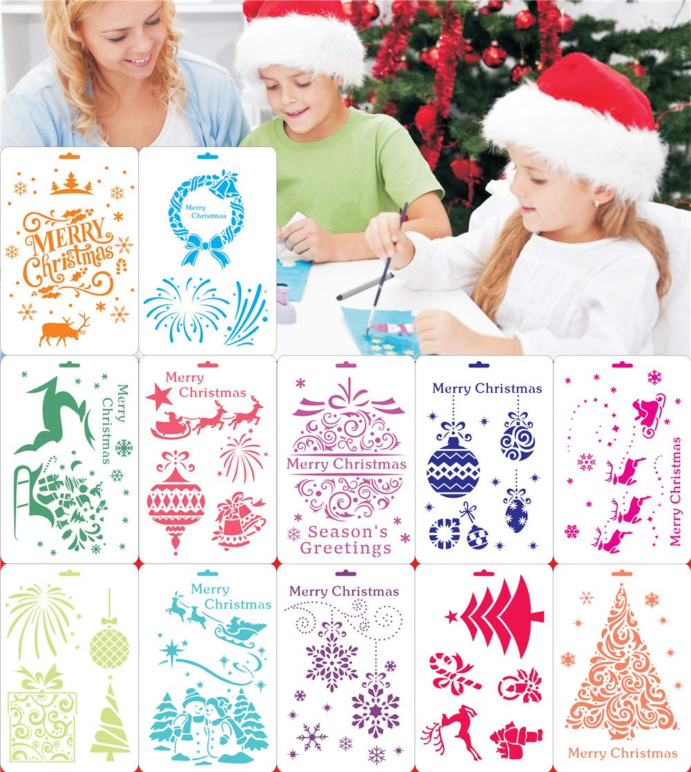 12 Pieces Christmas Stencils Painting Template Sets Reusable Plastic Drawing Stencils Christmas Tree Drawing Template for Spraying Painting on Wood Door Christmas DIY Decoration