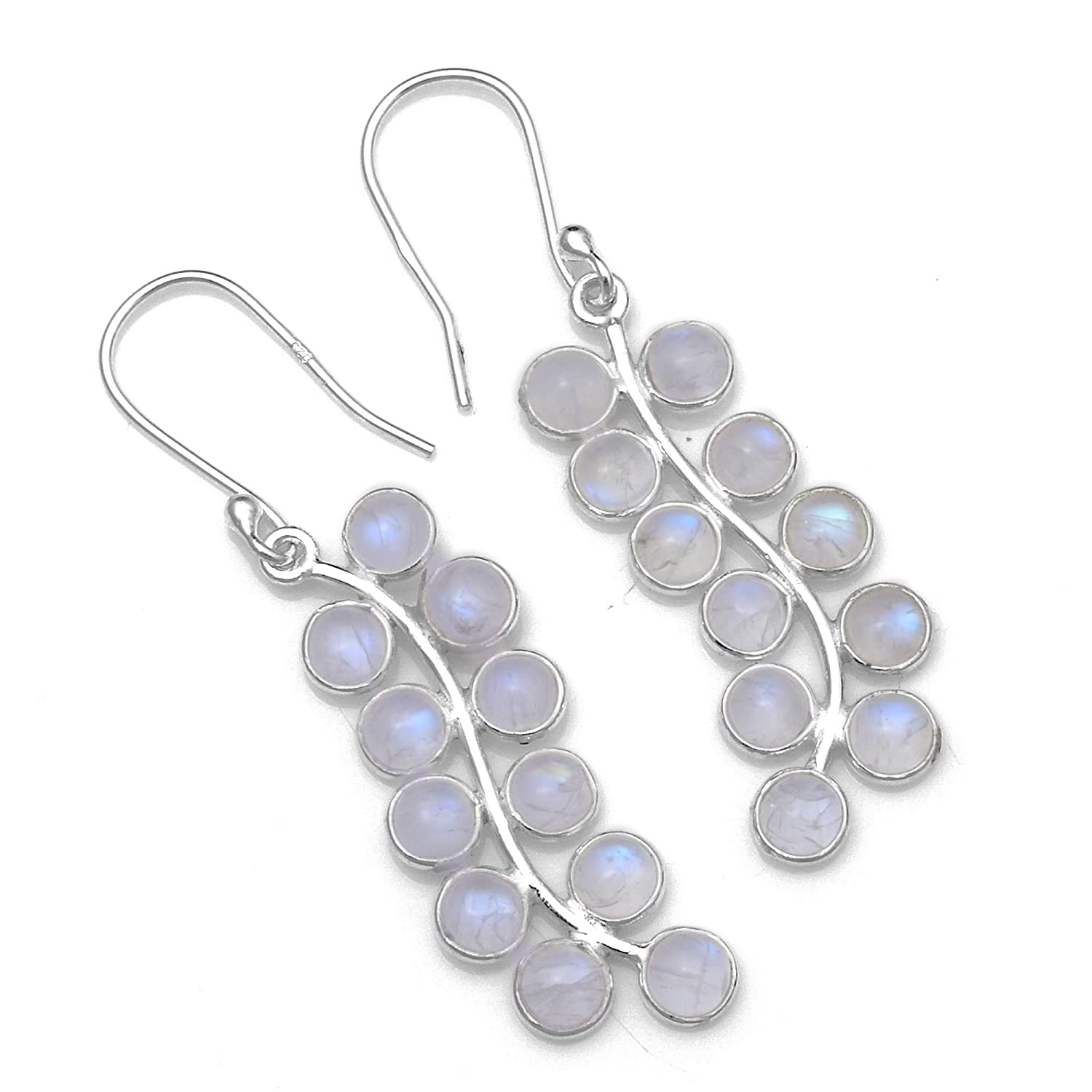 Silver Palace Sterling Silver Natural Rainbow Moonstone Earrings for Women and Girls